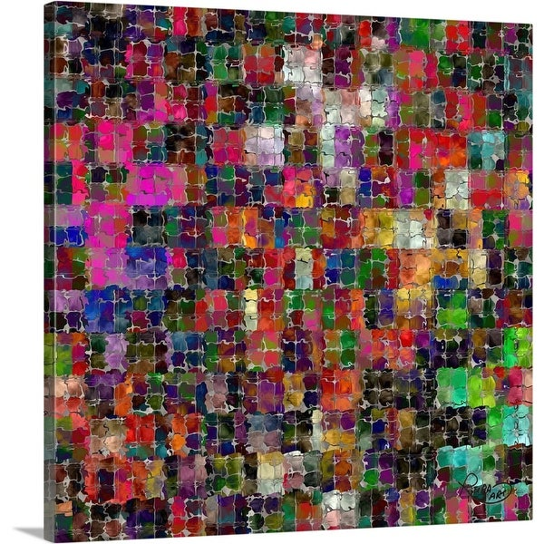 """Squiggle Squares"" Canvas Wall Art"