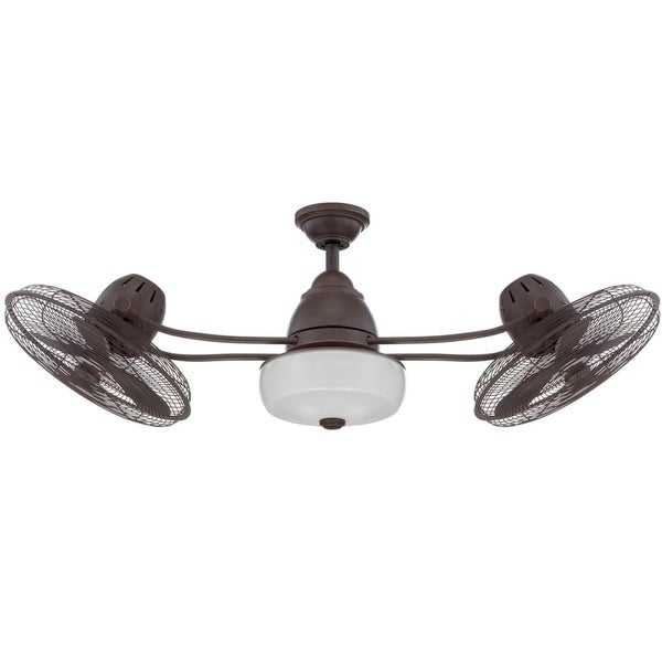 """Craftmade Bellows II 48"""" Indoor / Outdoor Dual Headed Fan - Blades, Remote and Light Kit Included"""