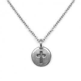 Loralyn Designs Small Round Silver Cross Charm Necklace