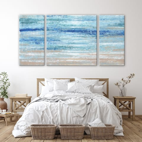 3 PC Crystal Blue Gallery Abstract Beach 30 x 60 Triptych Wall Art by Norman Wyatt Home