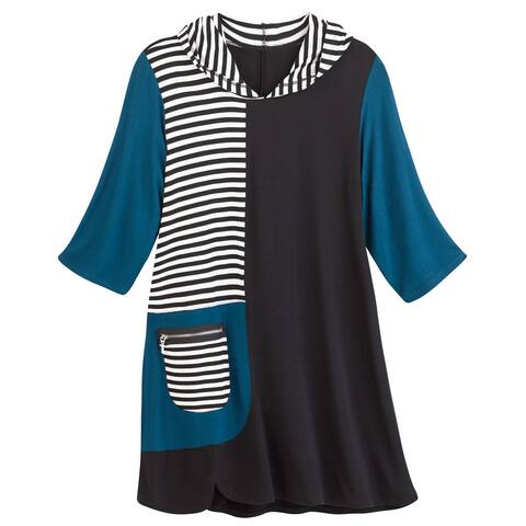 Inside Out Color Block & Stripes Hooded Tunic Top -3/4 Sleeve Black & Blue Shirt