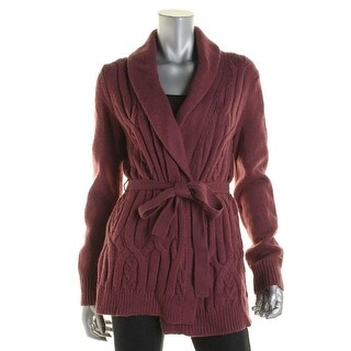 Tommy Hilfiger Womens Cable Knit Wool Blend Cardigan Sweater