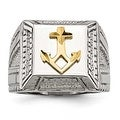 Chisel Stainless Steel Polished Yellow IP-plated with Sterling Silver Anchor Ring (17 mm) - Thumbnail 0