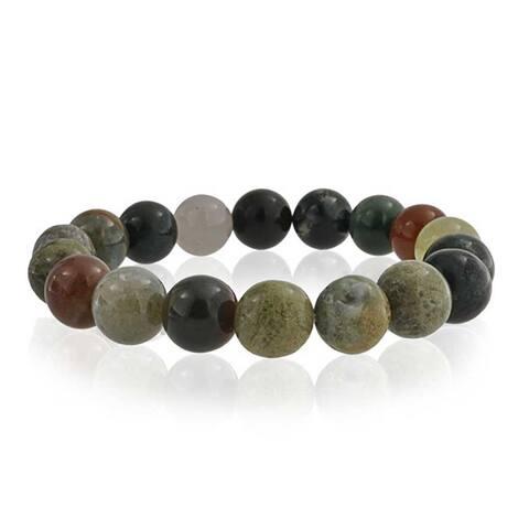Brown Earth Stone Multi Color Round Jasper Bead Strand Stretch Bracelet For Women For Men 10MM
