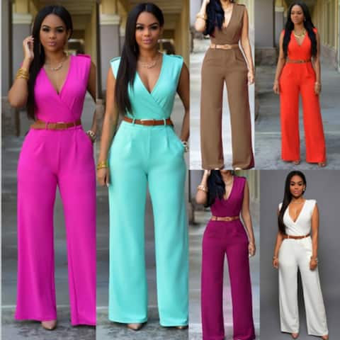 Women's Fashion Jumpsuit Rompers V-neck Sleeveless Slim Fit