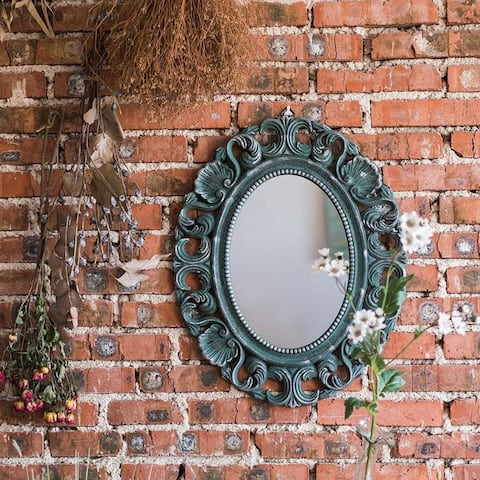RusticReach French Style Carving Frame Wall Mirror Blue