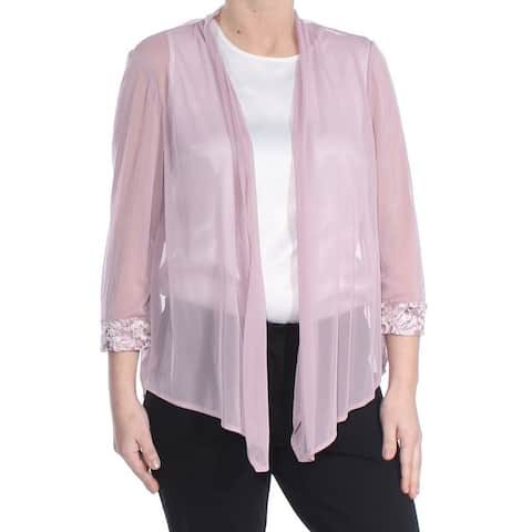 R&M RICHARDS Womens Pink Lace Trim Wear To Work Jacket Size 6