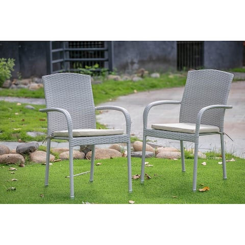 East West Furniture Patio Balcony Dining Arm Chair with Natural Wicker Set of 2 - JULC103A
