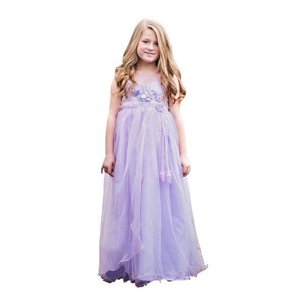 a13b71cf0a9 Shop Little Girls Purple Illusion Neck Flowers Floor Length Flower Girl  Dress - Free Shipping Today - Overstock - 23085802
