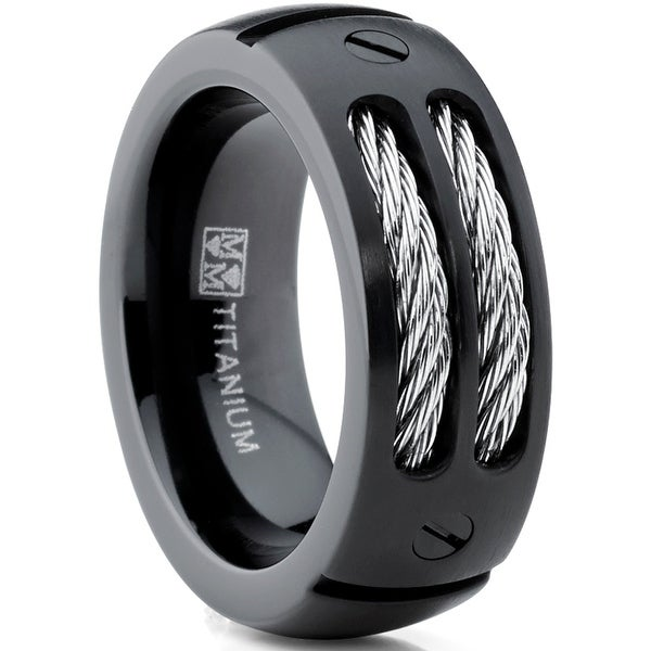Oliveti 8MM Men's Black Titanium Ring Wedding Band with Stainless Steel Cables and Screw Design Sizes 7 to 13. Opens flyout.