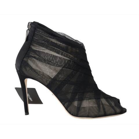 Dolce & Gabbana Black Peep Toes Stilettos Women's Booties