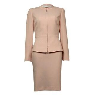 Tahari Women's Scoop Neck Seam-Detail Crepe Zip-Up Skirt Suit - Pastel Pink