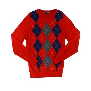 Club Room NEW Red Mens Size 3XL V-Neck Pullover Argyle Printed Sweater