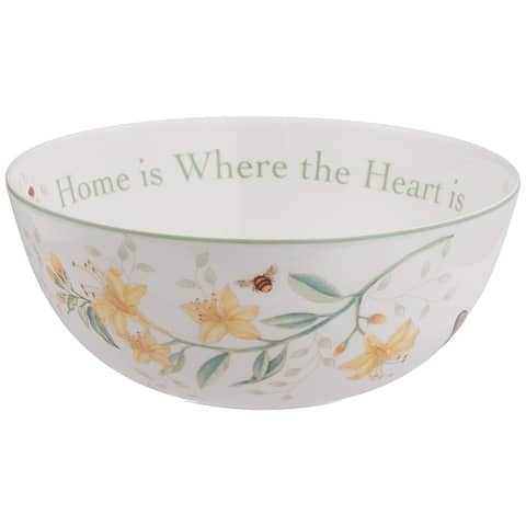 "Lenox Butterfly Meadow ""Home Is Where The Heart Is"" Serving Bowl - White - 7.2 x 7.2 x 3"
