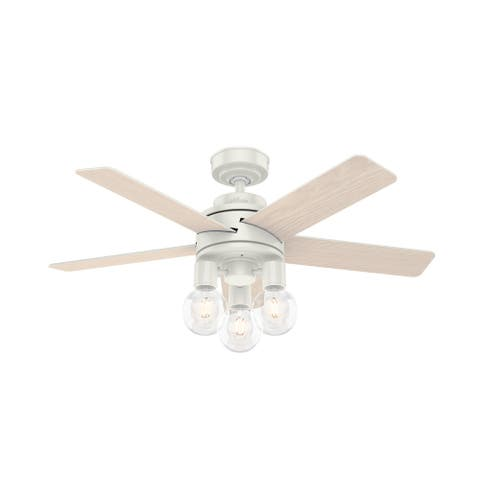 "Hunter 44"" Hardwick Ceiling Fan with LED Light Kit and Remote - Fresh White"