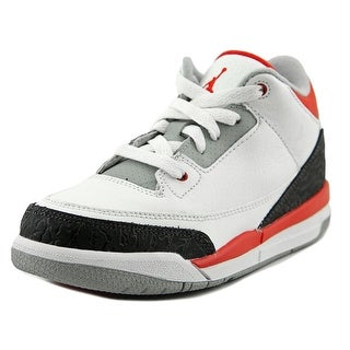 Jordan 3 Retro (PS) Youth Round Toe Synthetic White Sneakers