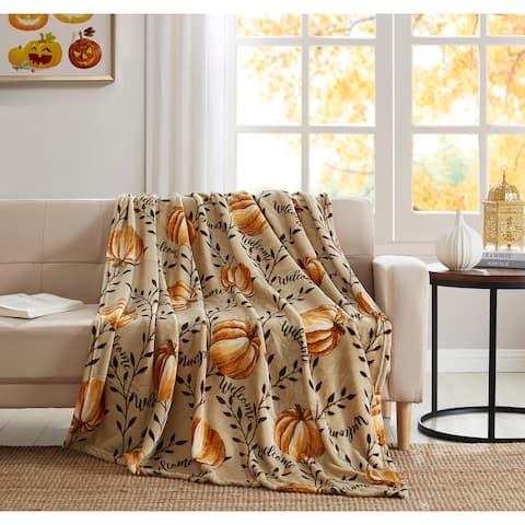 Asher Home Fall Pumpkin 50 x 60 inches Throw Blanket