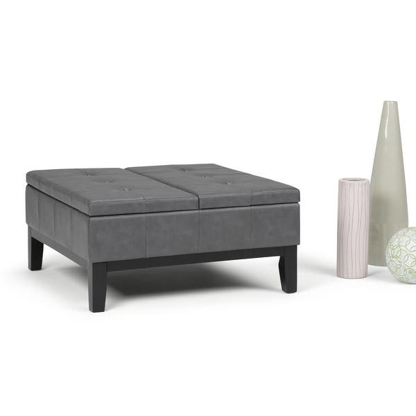 Wyndenhall Lancaster 36 In Faux Leather Square Table Ottoman Overstock 8361241