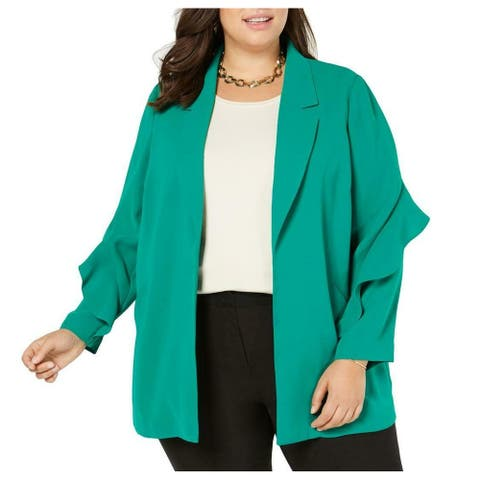 Alfani Womens Jacket Meadow Green Size 3X Plus Ruffle Sleeve Flyaway