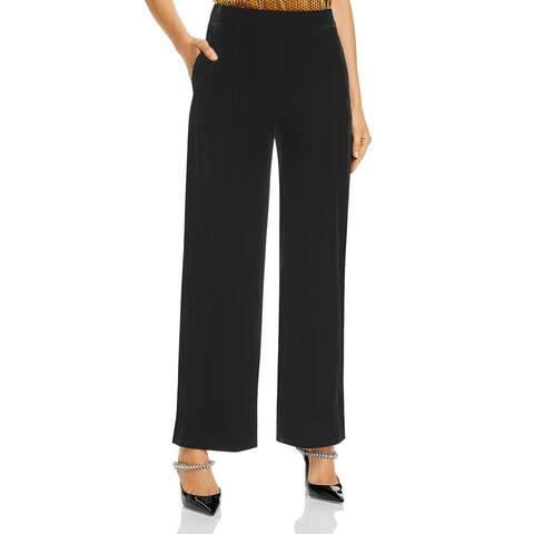 Donna Karan Womens Trouser Pants Velvet Wide Leg - Black