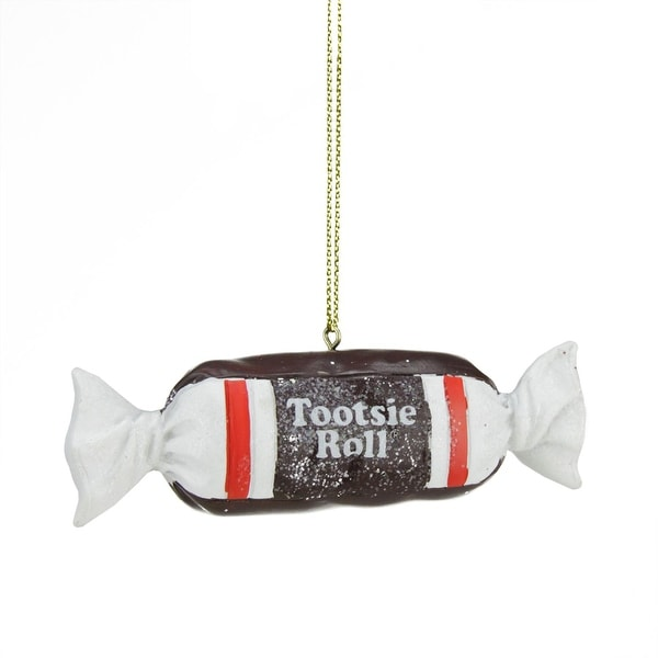 """1"""" Candy Lane Tootsie Roll Original Chewy Chocolate Candy Christmas Ornament - brown"""