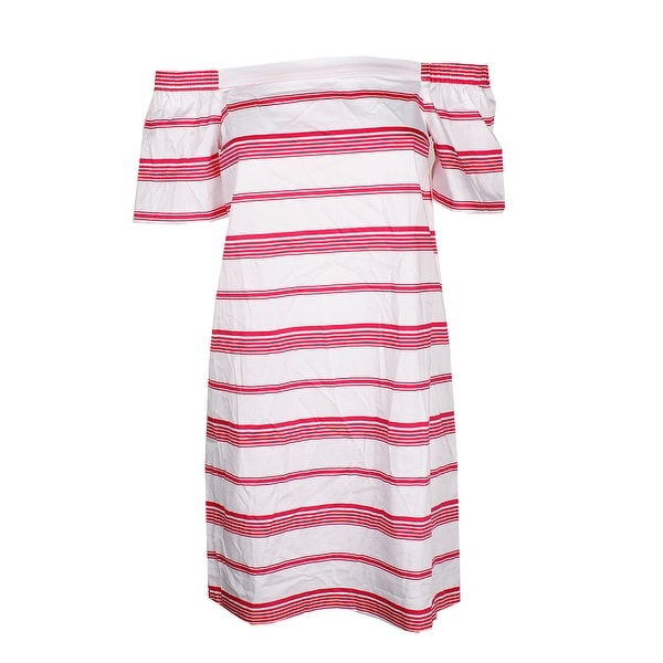 185e986b51a47 Shop Maison Jules White Pink Striped Off-The-Shoulder Dress S - Free ...