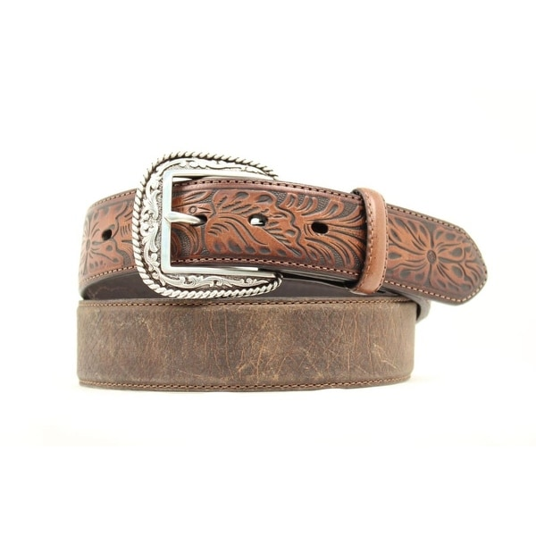 Ariat Western Belt Men Tooled Leather Distressed Brown