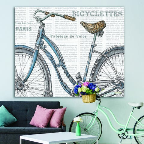 Designart 'Paris France Bicycles II' French Country Canvas Art - Grey
