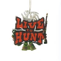 "3.5"" ""Live to Hunt"" Sign with Rifle Antlers and Binoculars Hanging Christmas Ornament - brown"