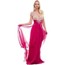 Mac Duggal Womens Beaded Open Back Formal Dress