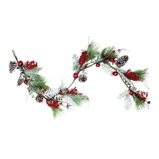 """68"""" Bells, Berries and Pine Cones Frosted and Flocked Decorative Christmas Garland - Unlit"""