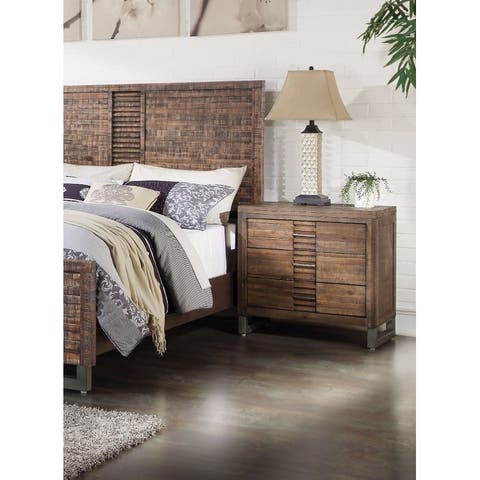 Modern Style 3 Drawers Wood Nightstand By Andria, Brown