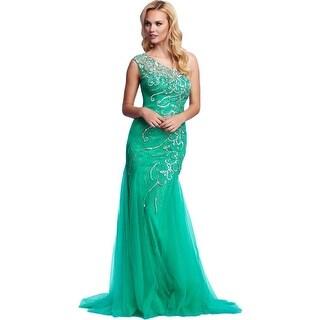 Mac Duggal Womens Formal Dress Embellished One Shoulder
