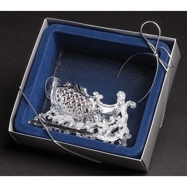 "4.75"" Blue Boxed Clear and Silver Glittered Fancy Sleigh Christmas Ornament"
