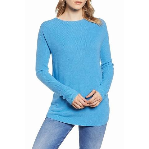 Halogen Womens Sweater Blue Size XL Tunic Ribbed Twist V-Back Knit