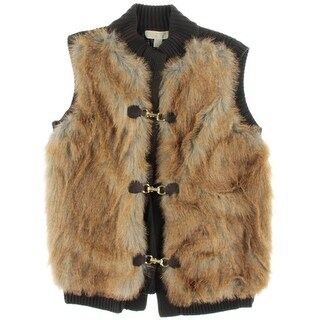 MICHAEL Michael Kors Womens Faux Fur Top Casual Vest - L