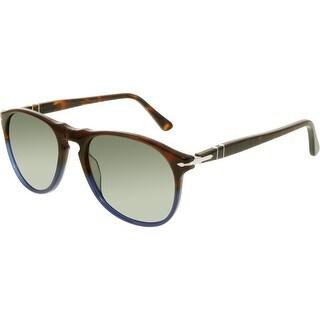 Persol Men's Polarized PO9649S-102258-52 Brown Oval Sunglasses