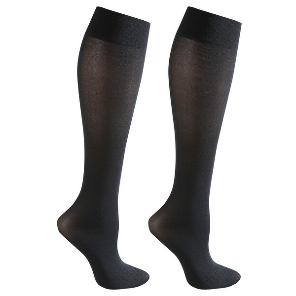 Mild Support 2 Pair Knee High Trouser Socks with 8-15 mmHg Compression - Black/Black - Medium