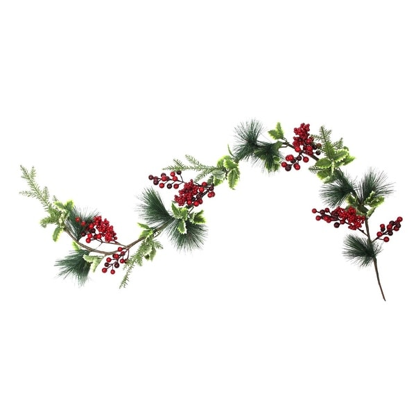 5' Artificial Berry, Holly Leaves and Pine Needles Christmas Garland - Unlit
