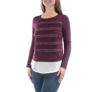 Womens Burgundy Long Sleeve Jewel Neck Evening Top Size 2XS