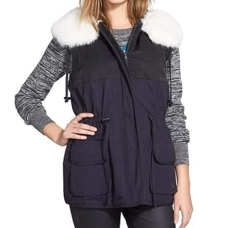 French Connection NEW Blue Women's Size 4 Rhumba Hood Vest Jacket|https://ak1.ostkcdn.com/images/products/is/images/direct/bac523bda9e56aef3116dbd6ec92ecd62669fb6b/French-Connection-NEW-Blue-Women%27s-Size-4-Rhumba-Hood-Vest-Jacket.jpg?impolicy=medium