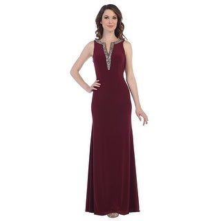 Jersey Gown with Beaded Neckline