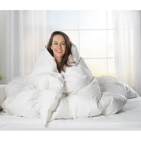 ComfyDown Luxurious White Egyptian Cotton Goose Down Comforter