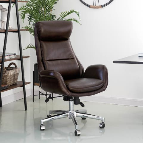 48H Mid-Century Modern Black/ Coffee Air Leatherette Office Chair by Glitzhome