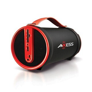 """AXESS SPBT1033 Portable Bluetooth Indoor/Outdoor 2.1 Hi-Fi Cylinder Speaker with Built-In 4"""" Sub/FM Radio, SD Card, USB"""