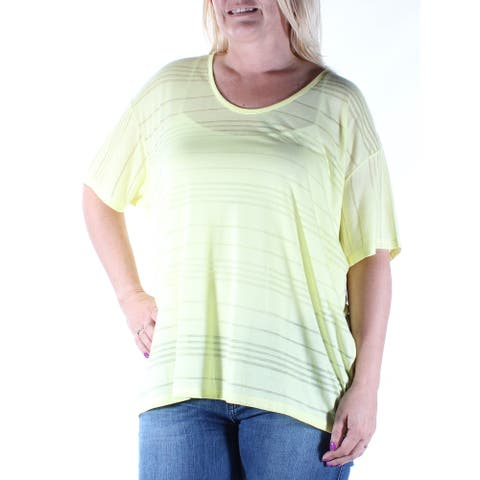 DKNY Womens New 4892 Yellow Sheer Jewel Neck Short Sleeve Top L