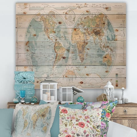 Designart 'Ancient Map of The World II' Rustic Print on Natural Pine Wood