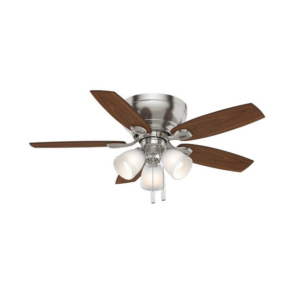 """Casablanca 44"""" Durant Low Profile Ceiling Fan with LED Light Kit and Pull Chain. Opens flyout."""