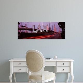 Easy Art Prints Panoramic Images's 'Airport at dusk, Los Angeles, California' Premium Canvas Art