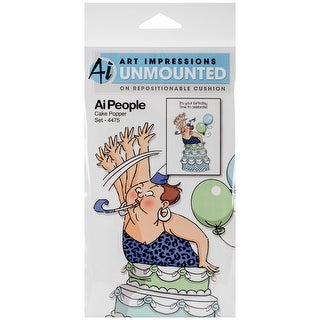 """Art Impressions People Cling Rubber Stamps 7""""X4""""-Cake Popper Set"""